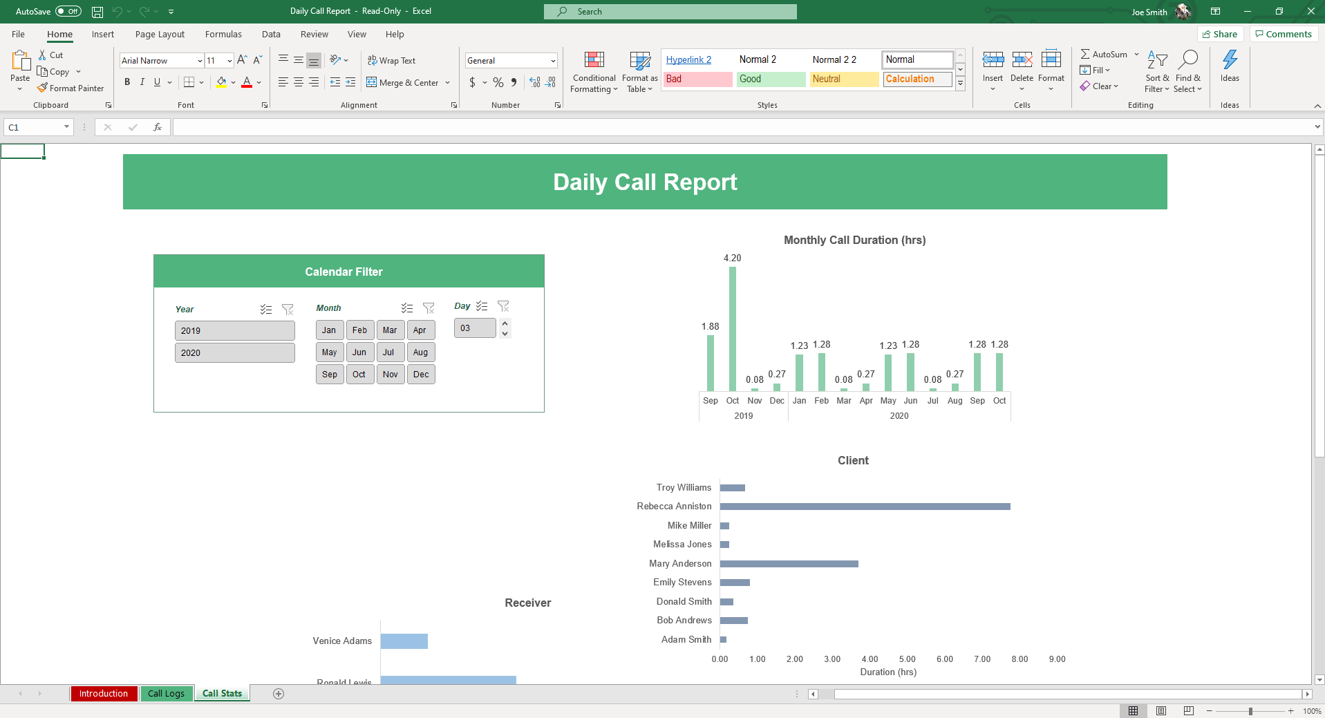Easily add call data to the Call Logs sheet of our Daily Call Report Excel Template. Data slicers allow you to filter and add new reports everyday.