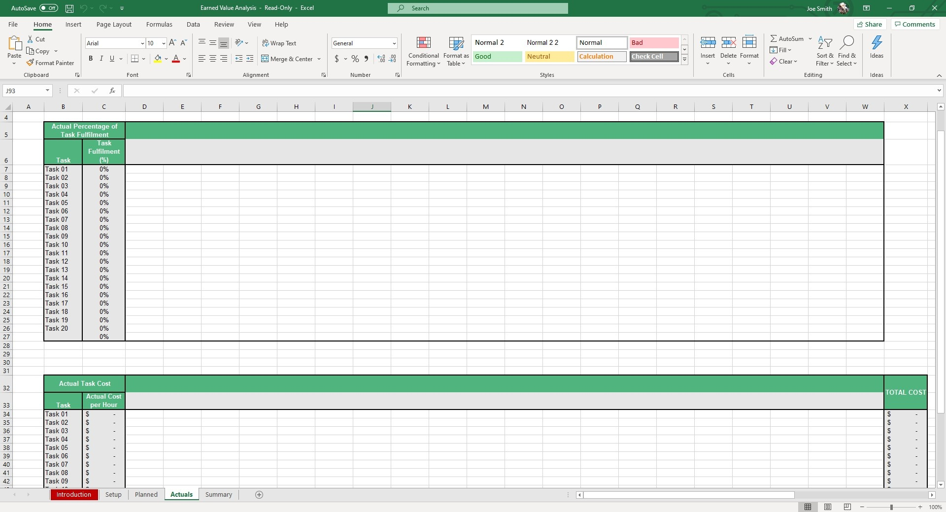 In the Actuals sheet, you can fill out the actual performance of the project.