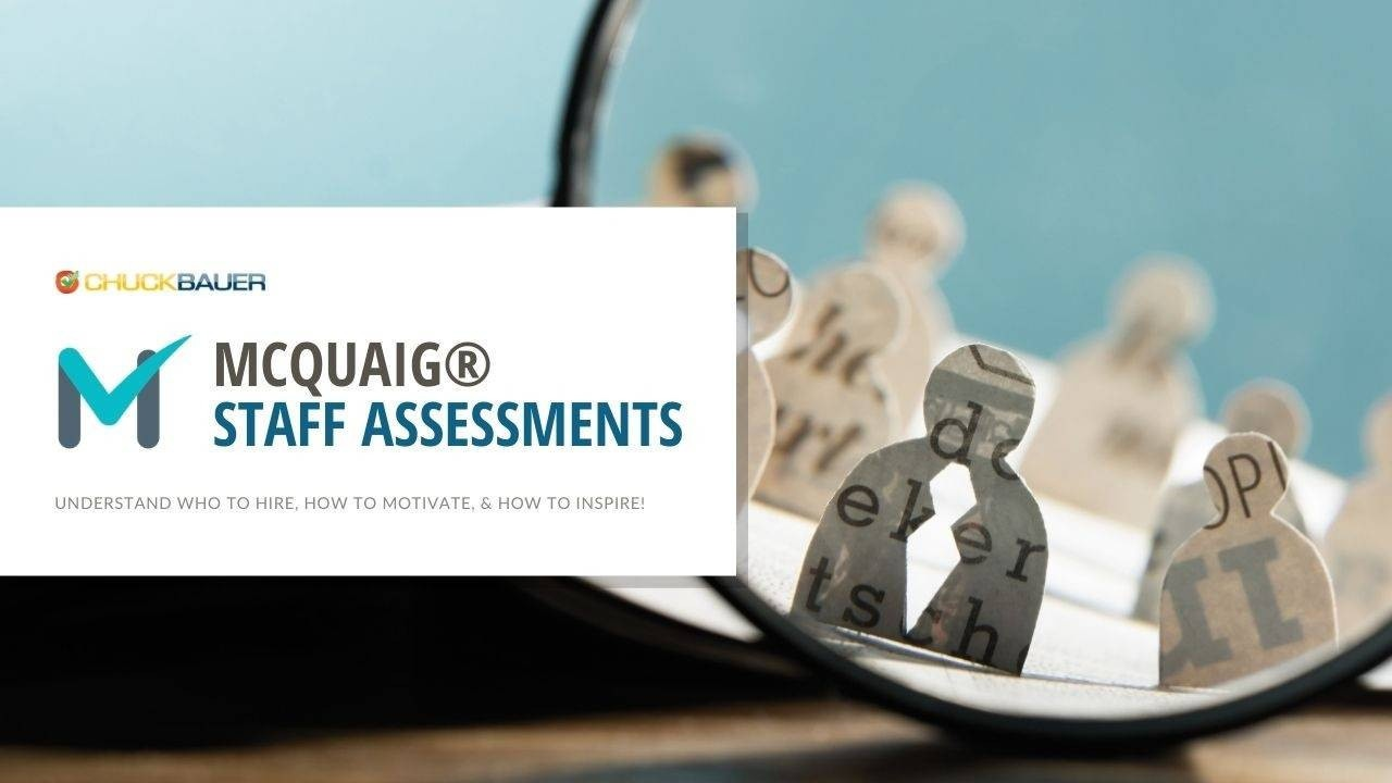 McQuaig® Assessments by Chuck Bauer - Understand who to hire, how to motivate, & how to inspire them! - Paper cutouts of business people magnified in a magnifying glass.