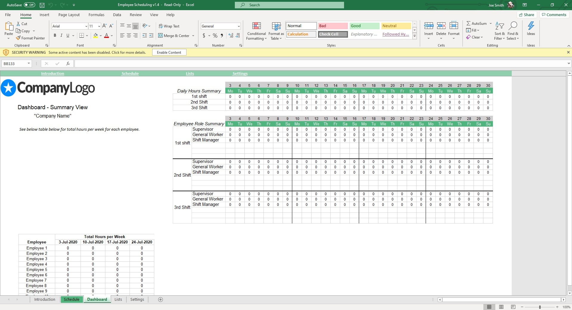 The Dashboard sheet gives you an overview of shift coverage and hours per week by employee.