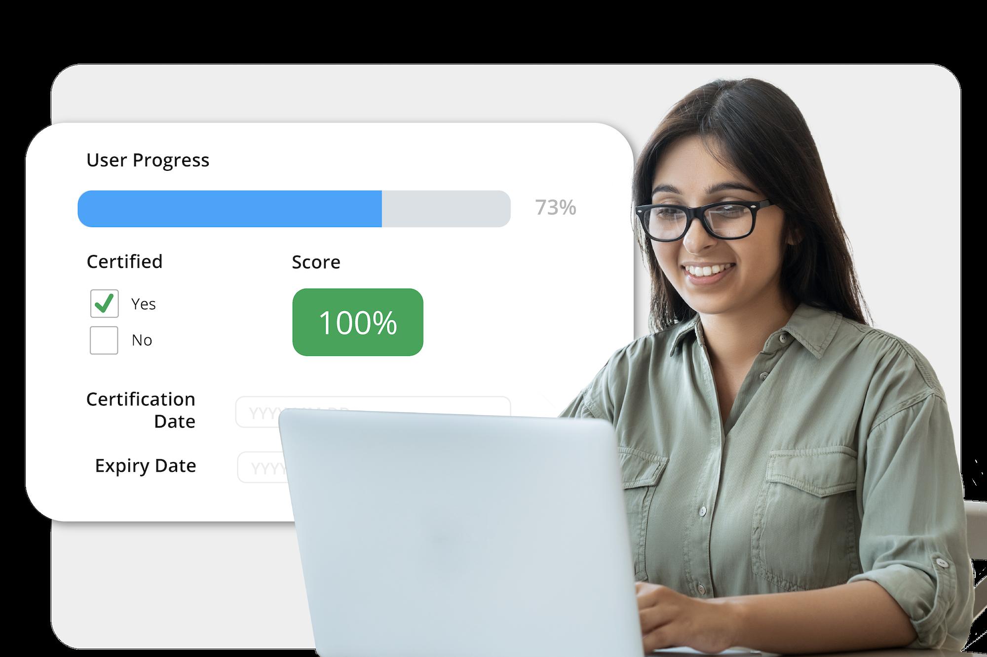 Young woman using laptop reviewing user progress