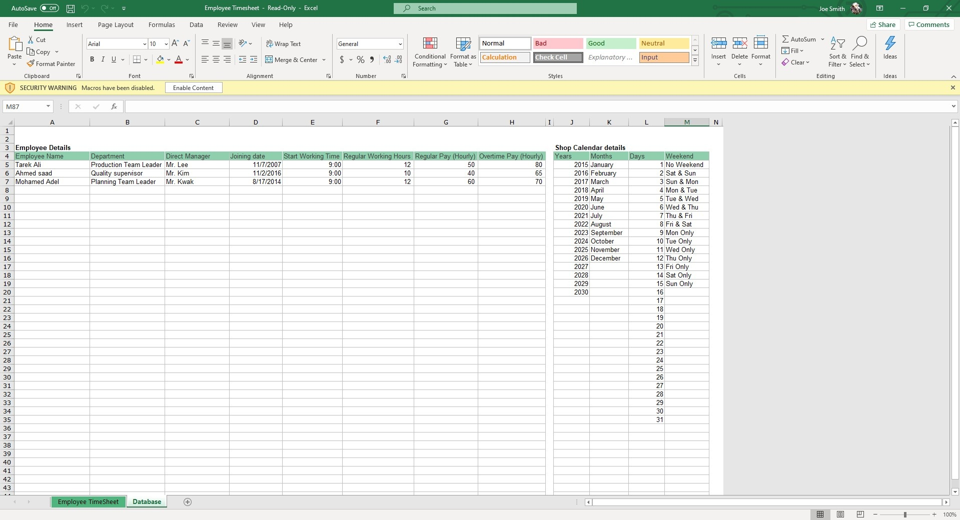 Input Employee Details in the Database sheet that auto populate in the Employee Timesheet.