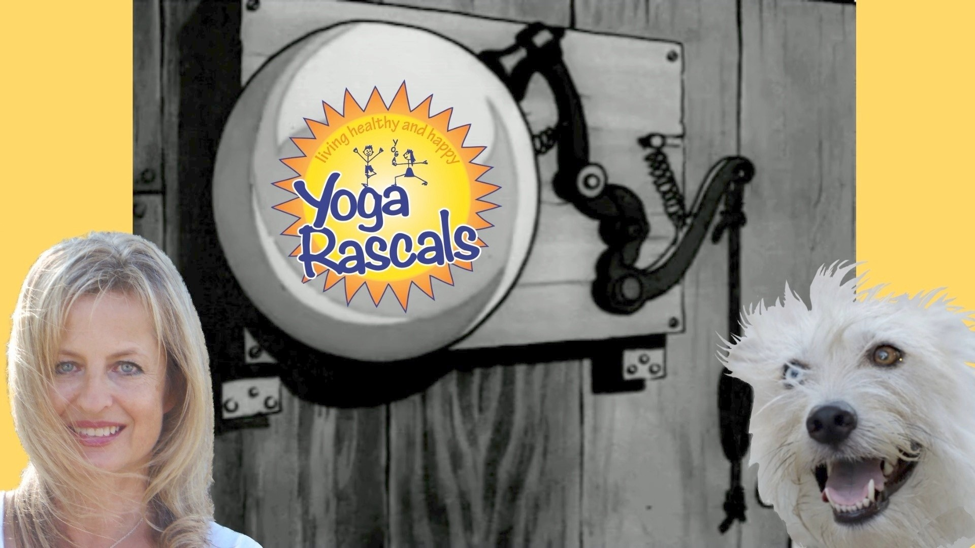 Expert kids yoga instructor Sünje O'Clancy and her dog, Hippie