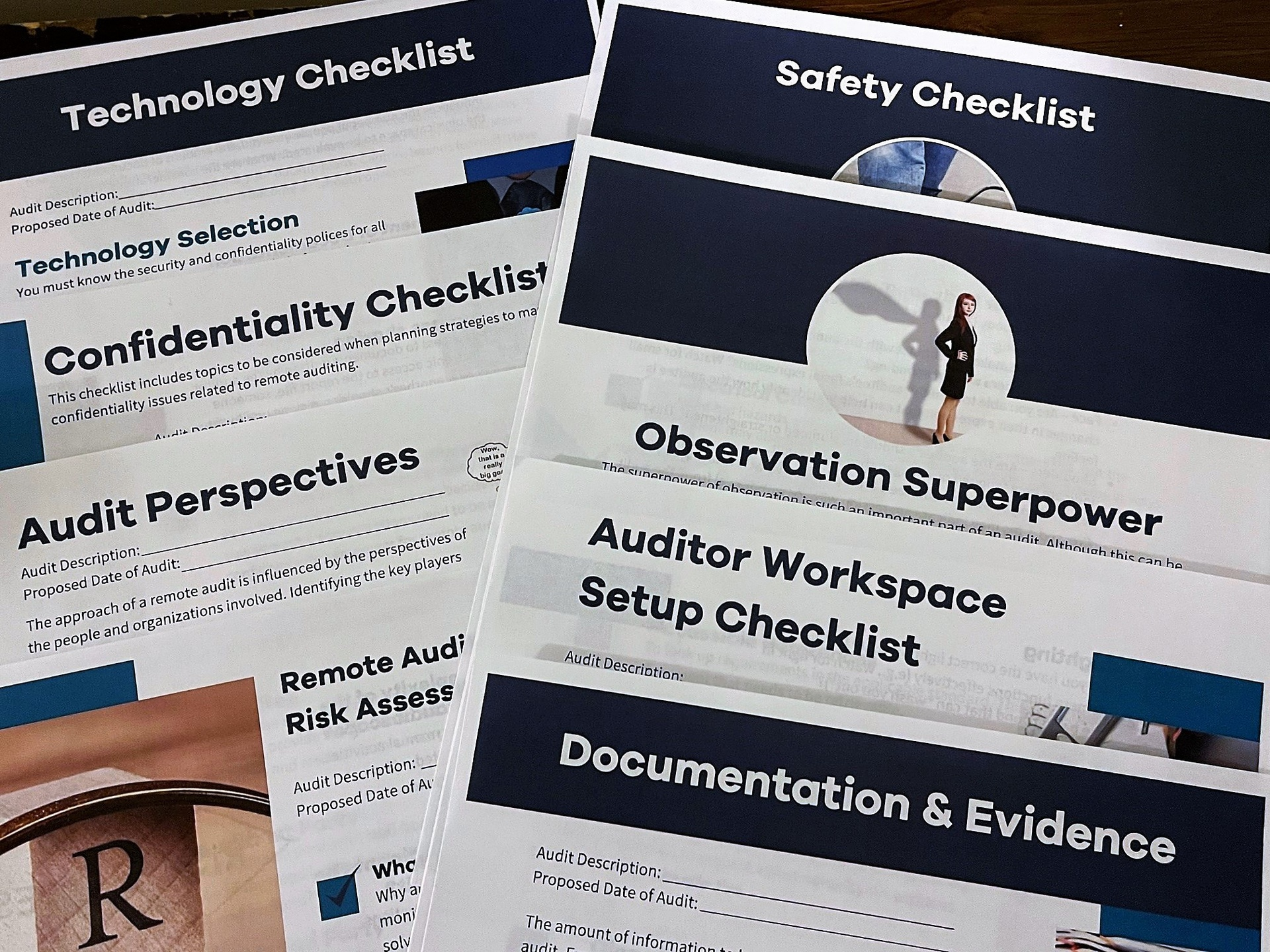 Remote Audit Checklists spread out on a desk