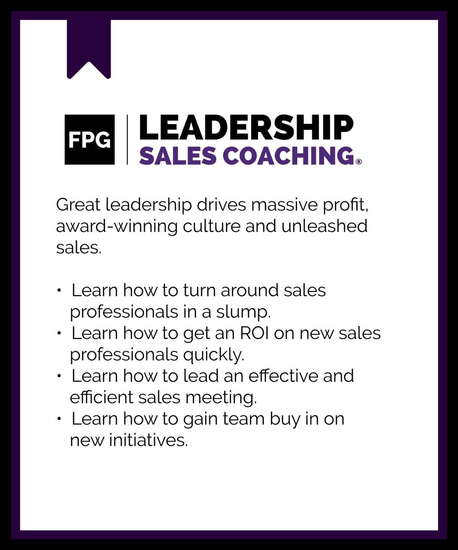 Leadership sales coaching program