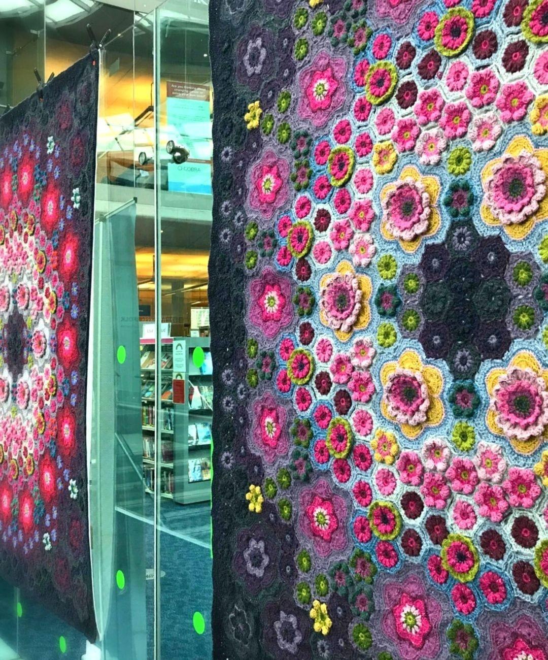Wallflowers crochet blanket display