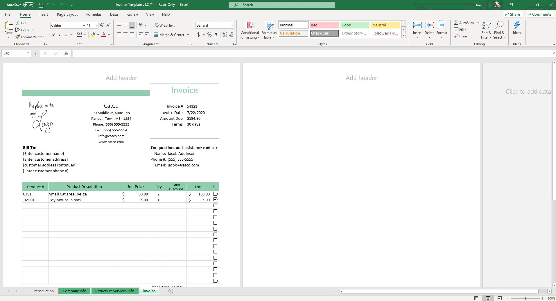 In our Invoice Excel Template, your invoice will be standard and auto populate based on your company details.