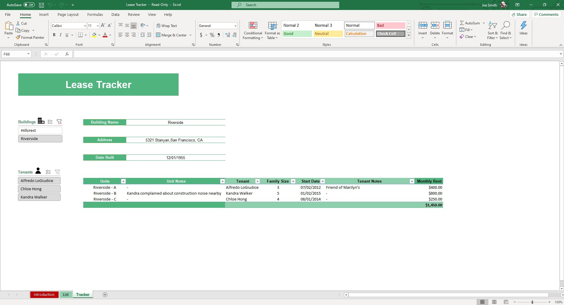 Use dynamic slicers to filter tenants and buildings in our Lease Tracker Excel Template.