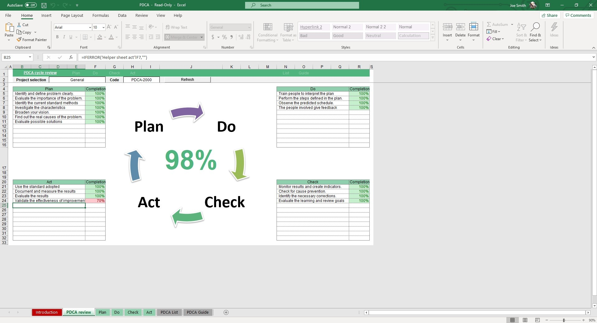 In the PDCA Review sheet of our Plan Do Check Act Excel Template, you can easily view your PDCA cycle for different ongoing projects.