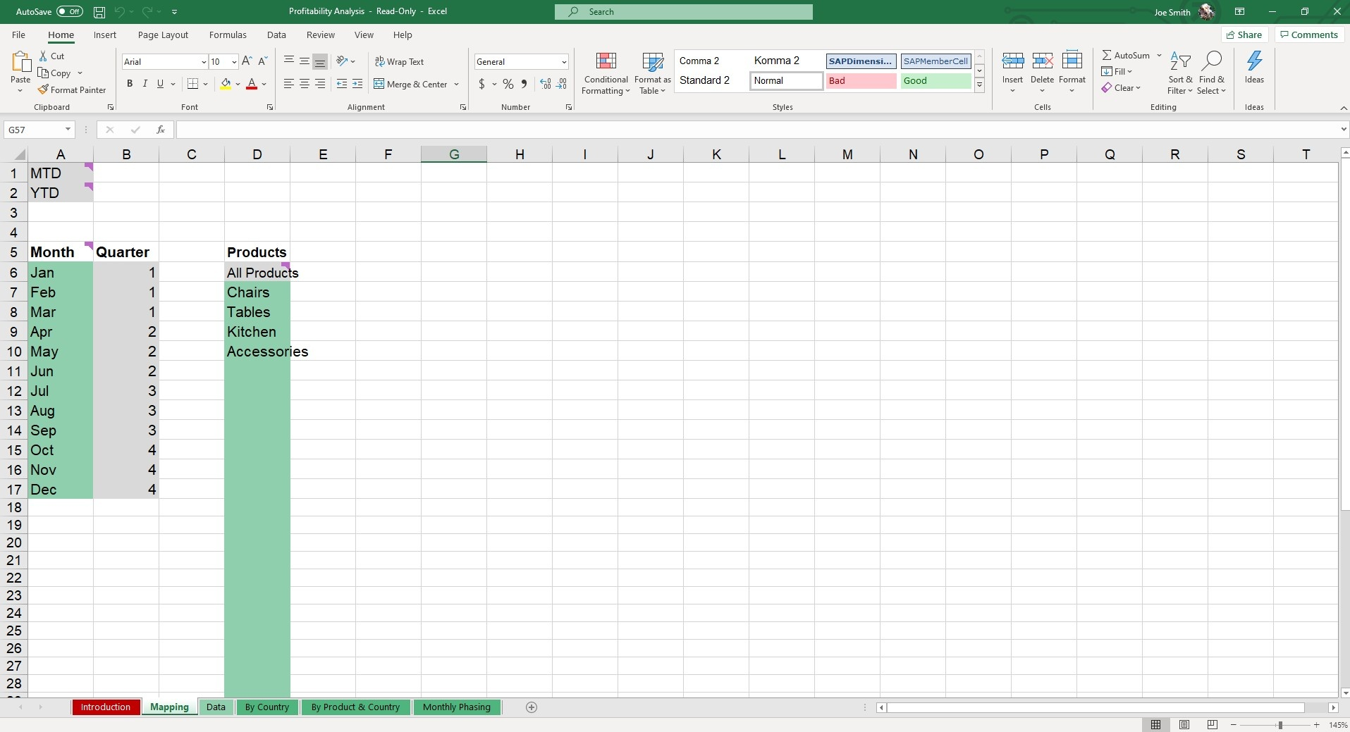 Upload your products and the month and quarter you'd like to map for in our Profitability Analysis Excel Template.