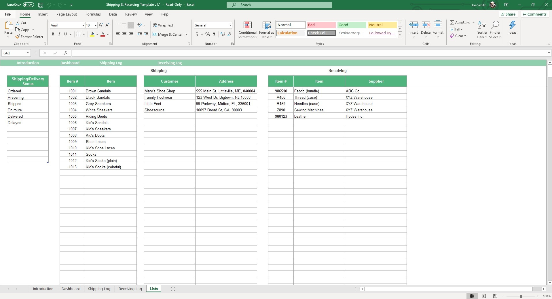 Use the Lists sheet in our Shipping and Receiving Excel Template to customize your logistical standards.