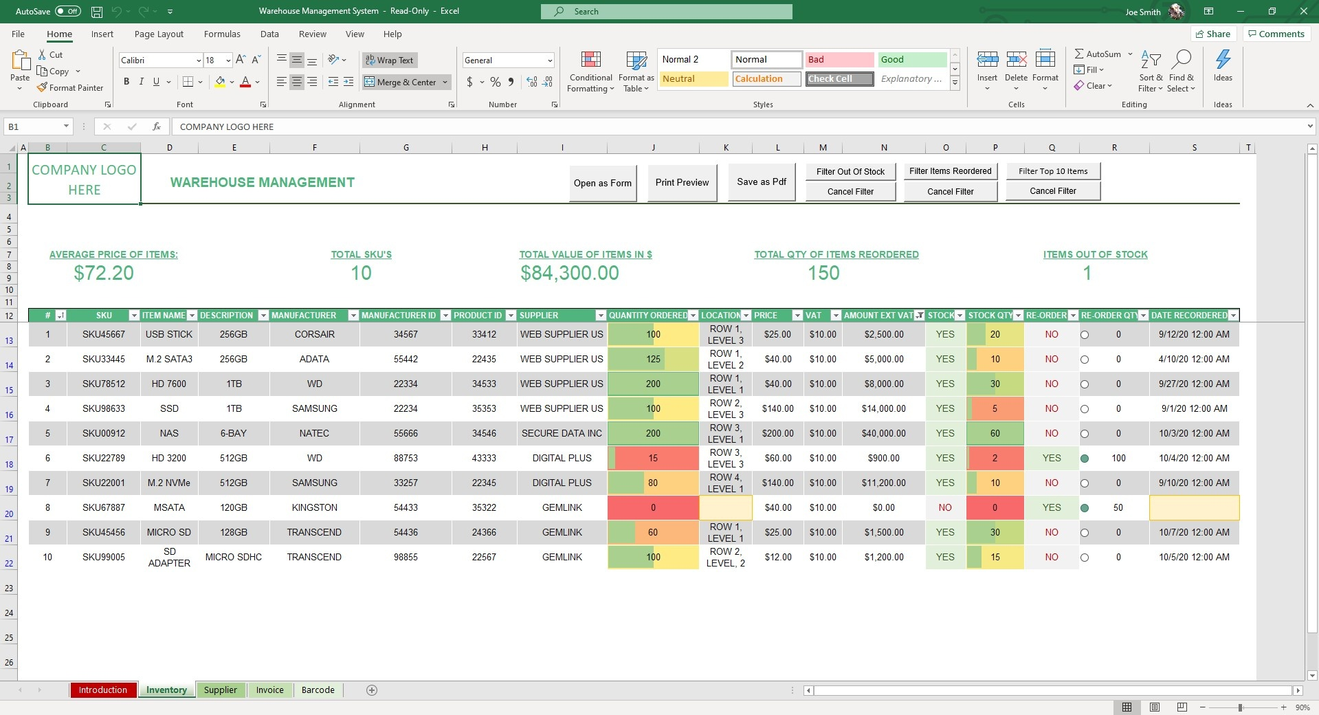 Upload and manage your inventory in the Inventory sheet of our Warehouse Management Excel Template. Equipped with smart formulas and conditional formatting.
