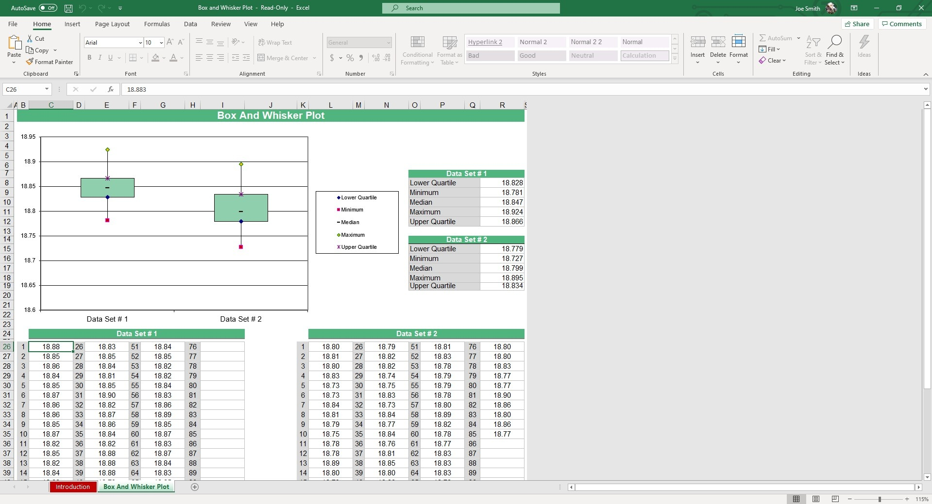 Enter your inputs into up to two data sets. Your Box and Whisker Plot will automatically calculate and graph, showing you the 5 number summary.