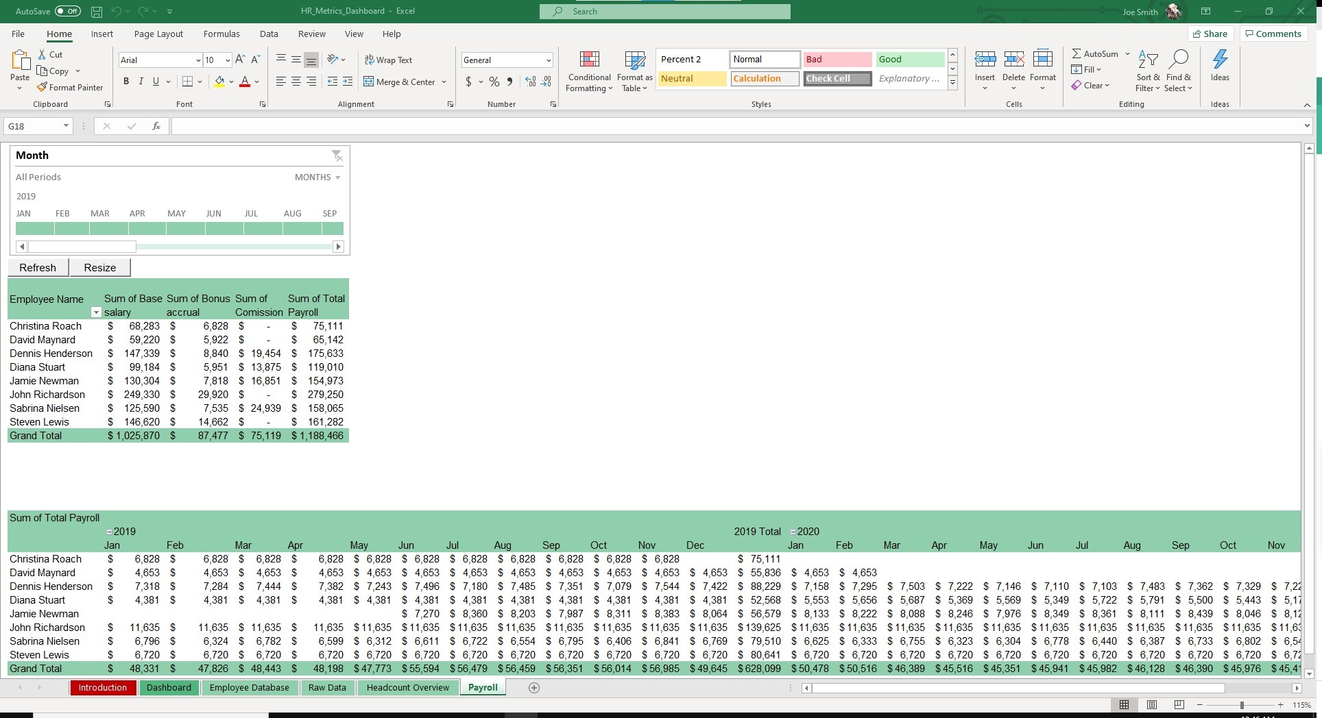 Calculate salary for specific time periods with the Payroll sheet.