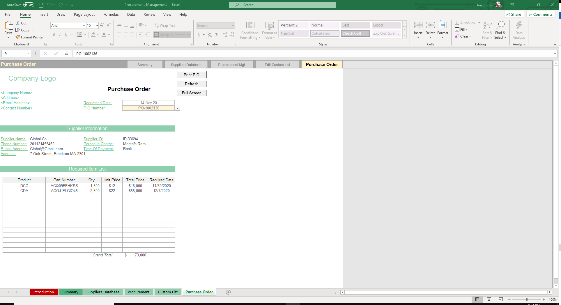 Automatically view and print out Purchase Orders in this sheet.