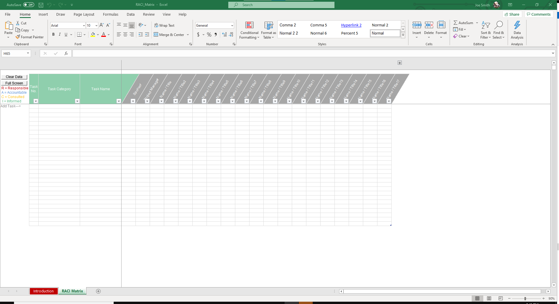 In the RACI Matrix sheet you can input employees name and insert the corresponding letter to their role - R, A, C or I