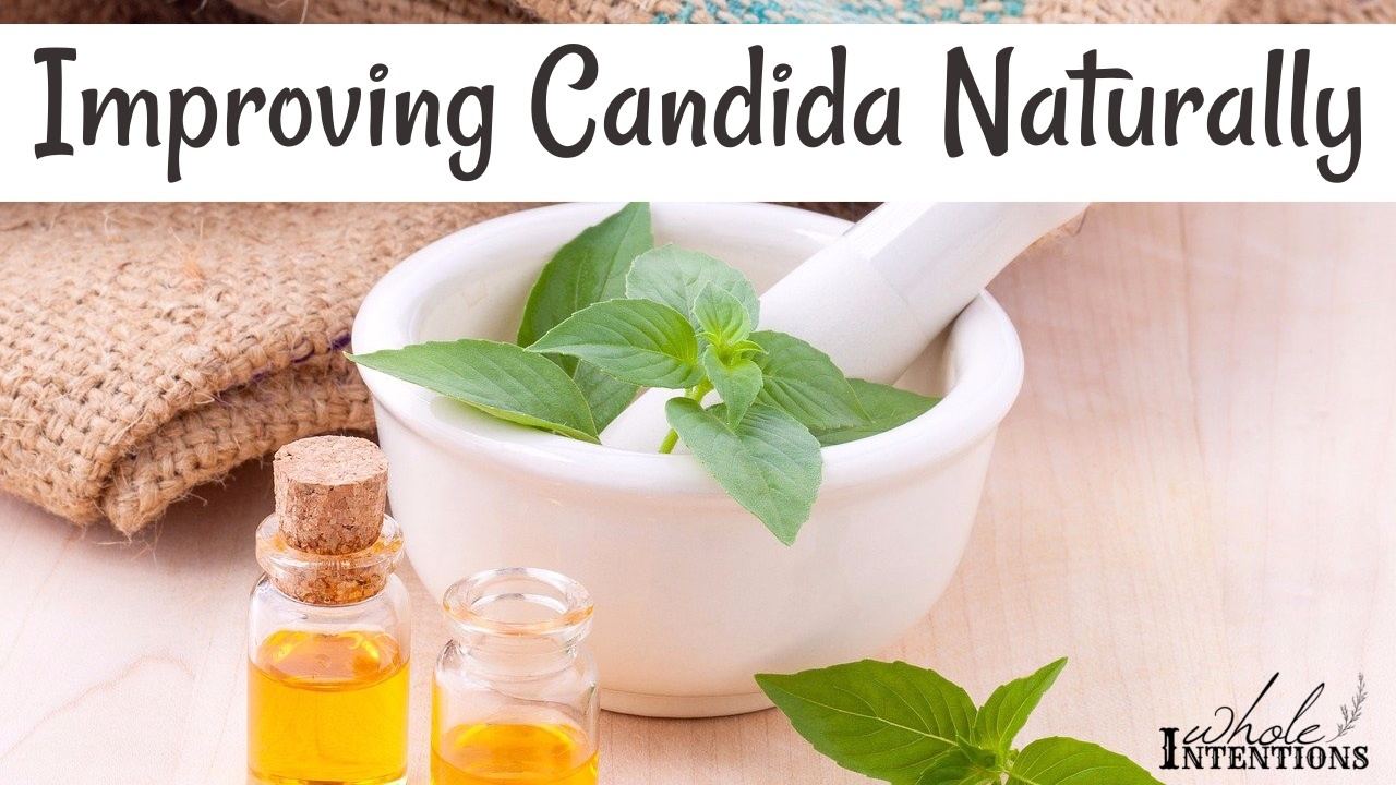 small jars of oil next to herbs for natural candida options