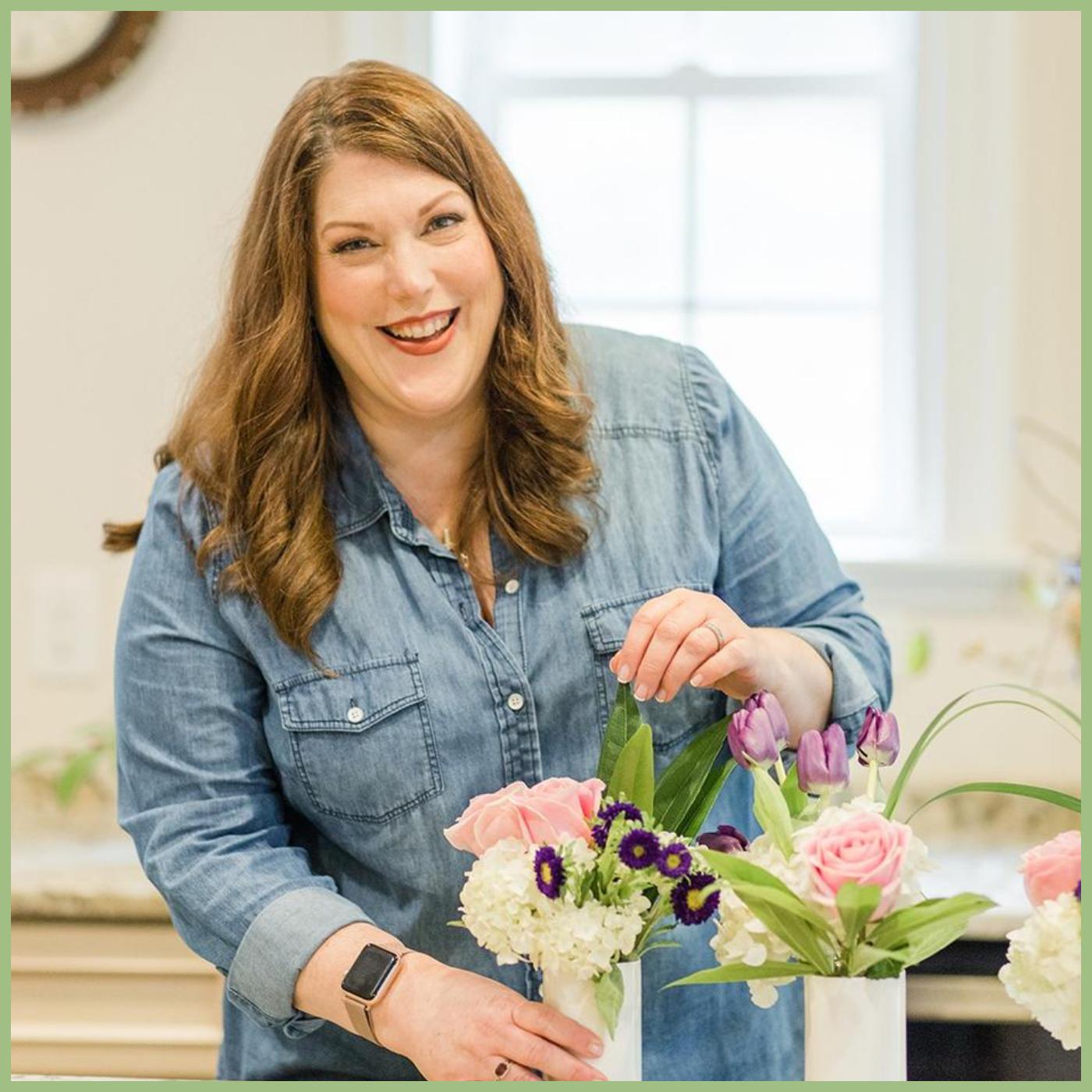 girl smiling and designing flowers Viva La Flora Live Podcast