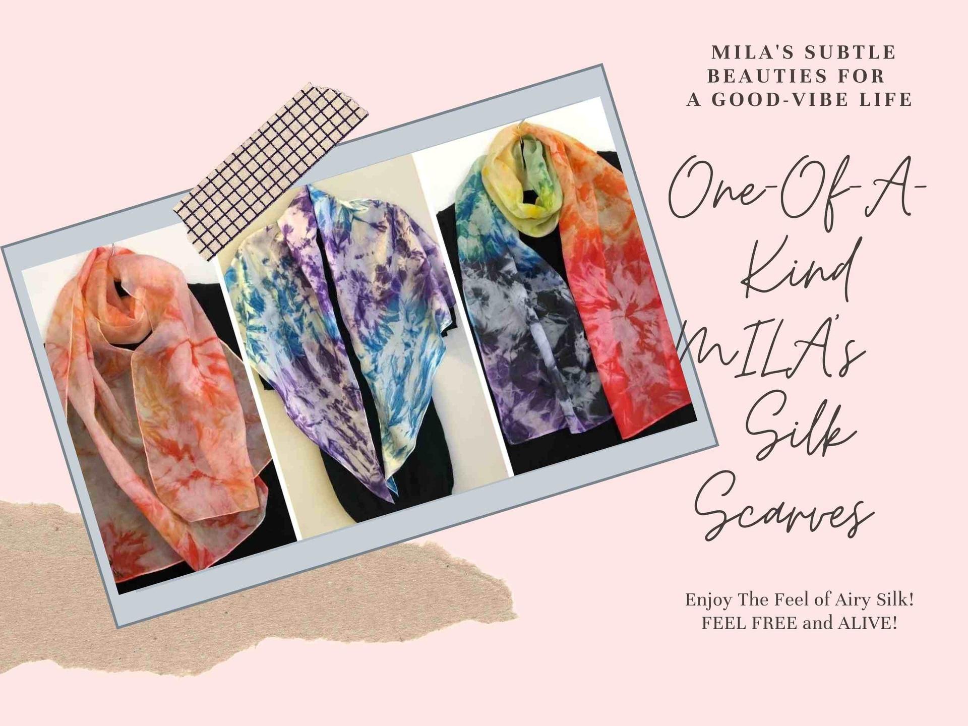 Image of Mila Lansdowne Designer Silk Scarves with text saying Enjoy The Luxurious Silk Scarves