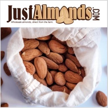 cloth bag of raw almonds