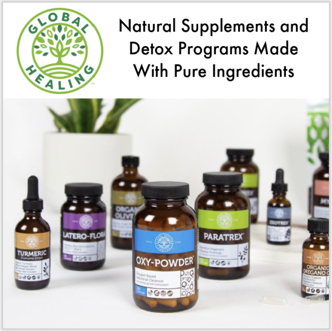 Global Health natural supplements displayed next to green plant
