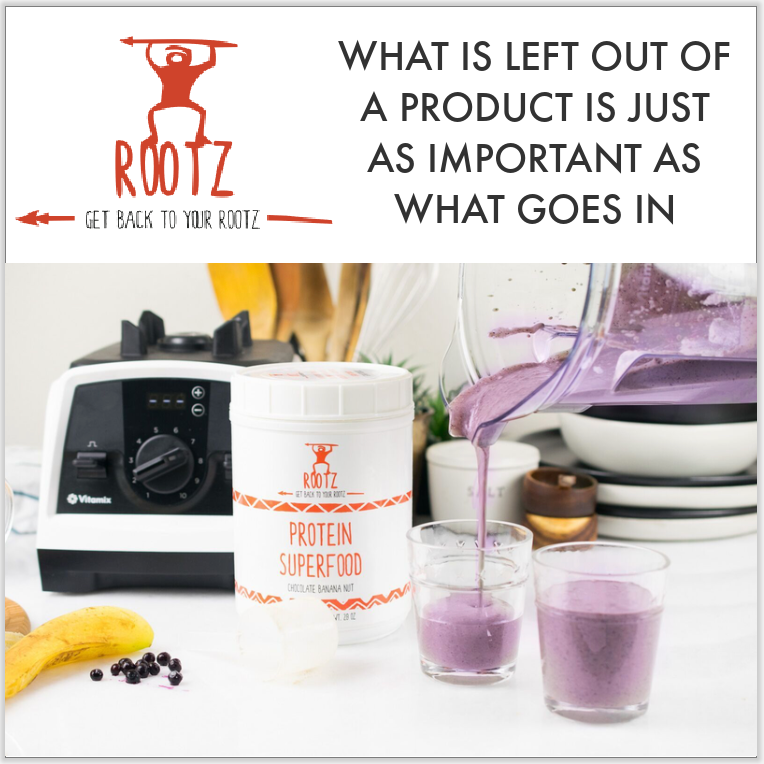 containers of sugar free, soy free, gluten free, and dairy free protein whey in Rootz Protein Superfood next to blender