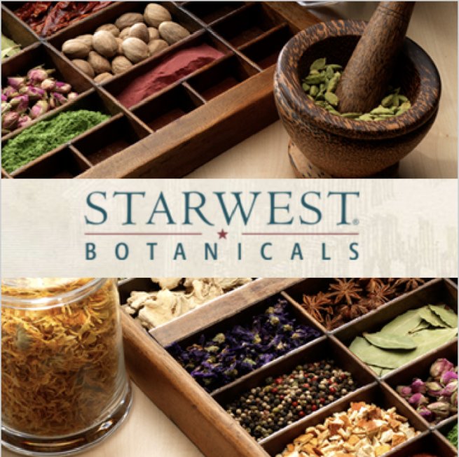 tray of dried Starwest Botanicals herbs and spices