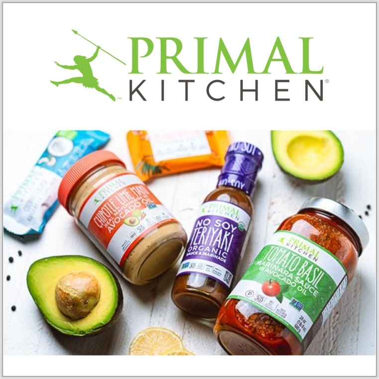 Primal Kitchen gluten, sugar, and soy free sauces and dressings displayed on white countertop