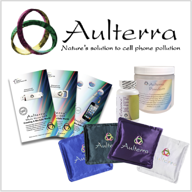 Aulterra EMF protecting products displayed on white background