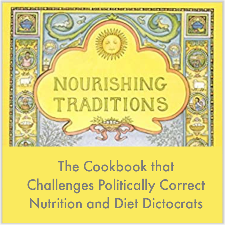 the cover of Nourishing Traditions book with traditional recipes