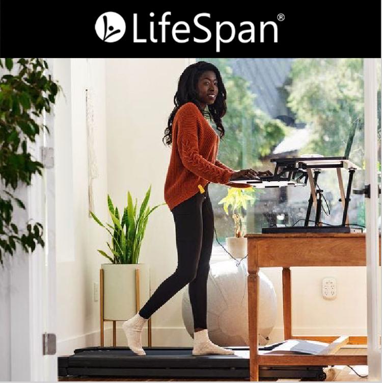 woman using desk treadmill from Lifespan Fitness
