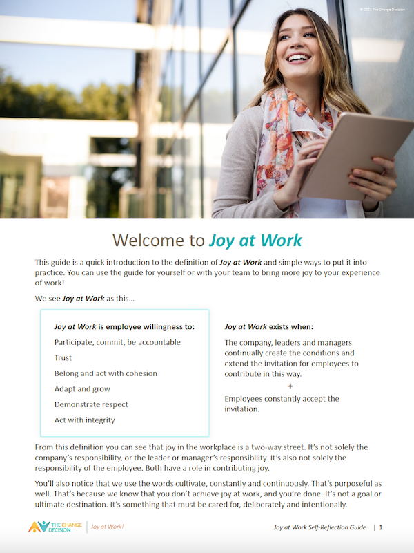 Joy at Work Self-Reflection Guide