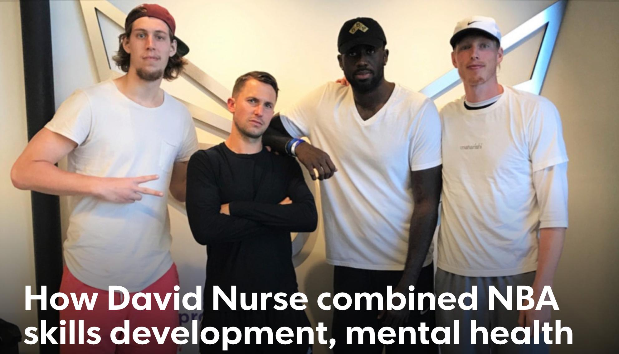 David Nurse with Basketball players