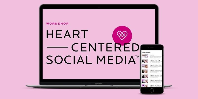 Heart-Centered Social Media Workshop logo displayed on a laptop