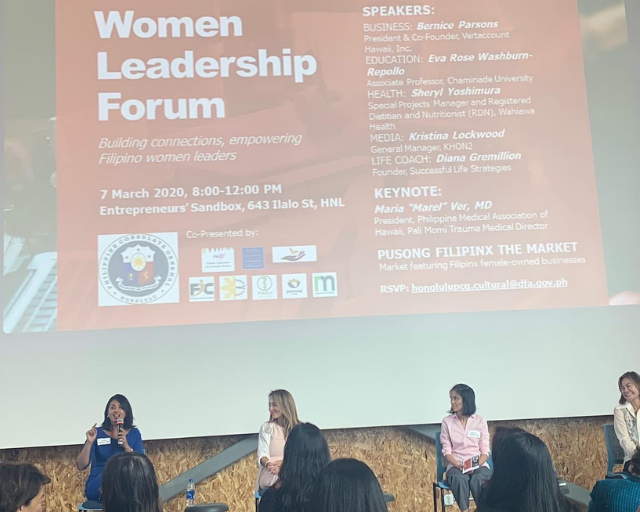 Diana Gremillion, Featured Panelist, Women Leadership Forum Hosted by Philippine Consulate General of Honolulu