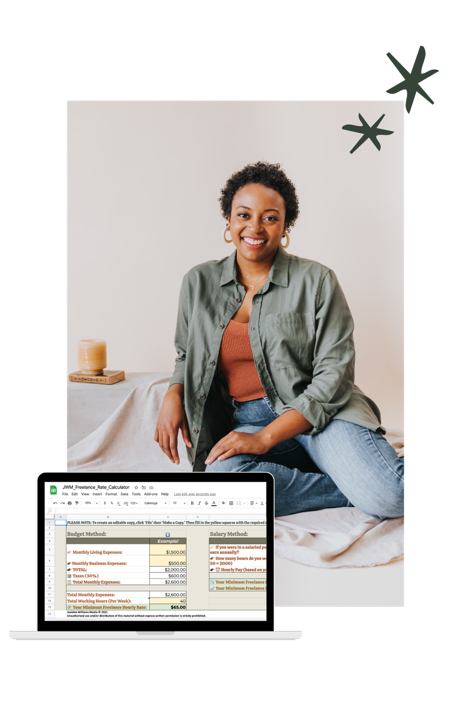 Image of Jasmine sitting in a chair and smiling, with a mockup of the checklist on an iPad in front of her
