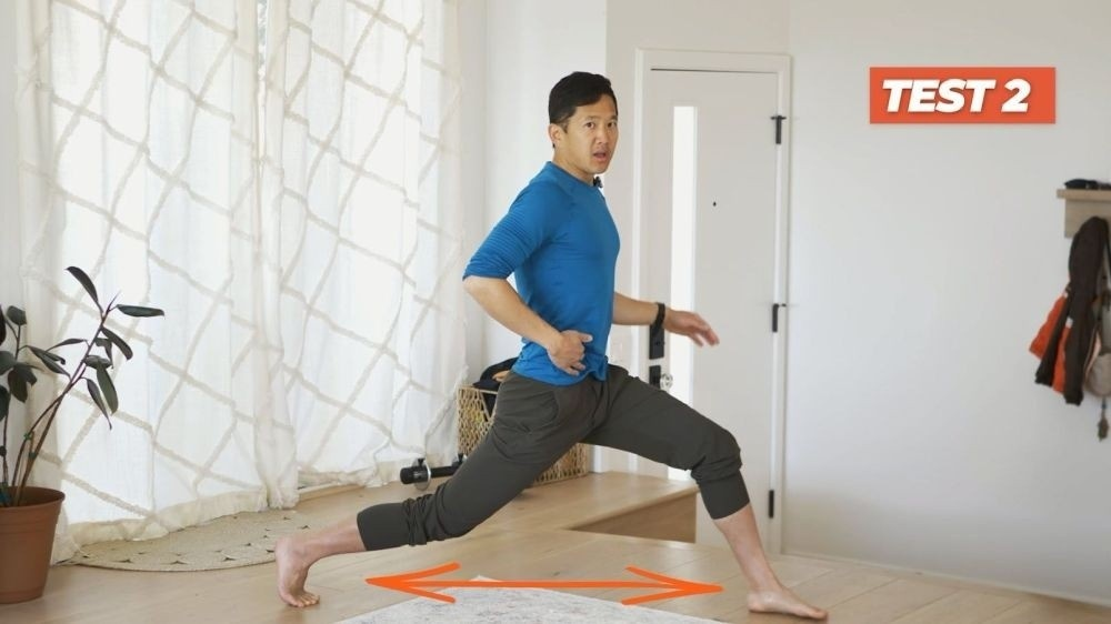demonstration of flexibility test for anterior tilt