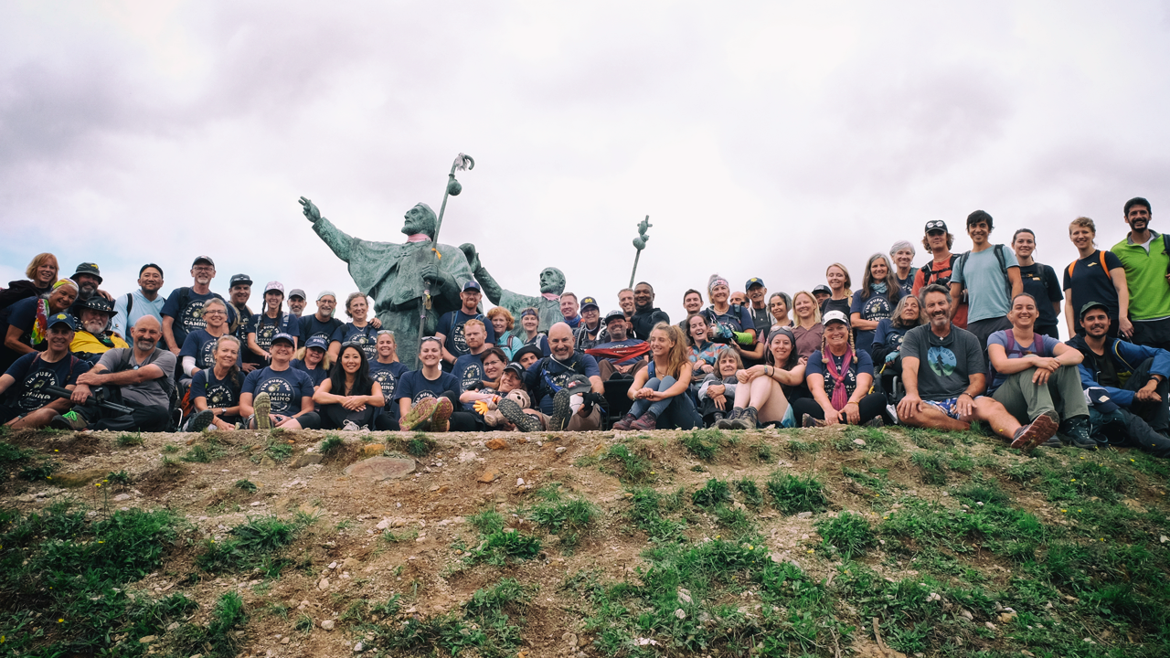 Camino group on a hill