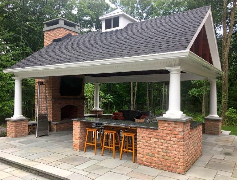 Outdoor Kitchen Pavilion with gable roof design